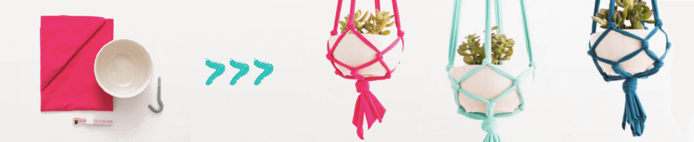upcycle ou recyclage de t-shirt en suspension pour plantes
