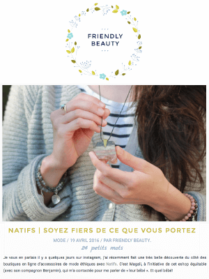 article sur natifs dans friendly beauty