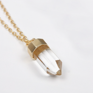 Collier quartz bullet plaqué or