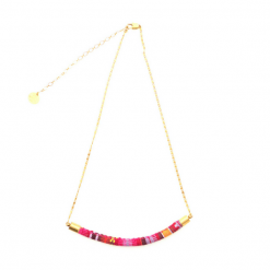 collier commerce équitable Inti rose