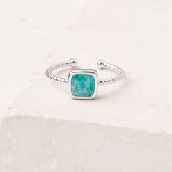 Bague or blanc et amazonite